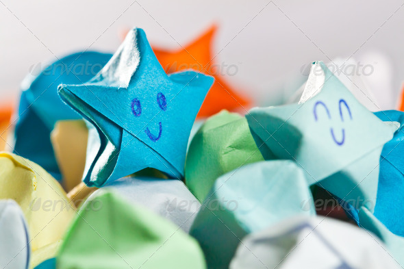 Happy paper stars - Stock Photo - Images