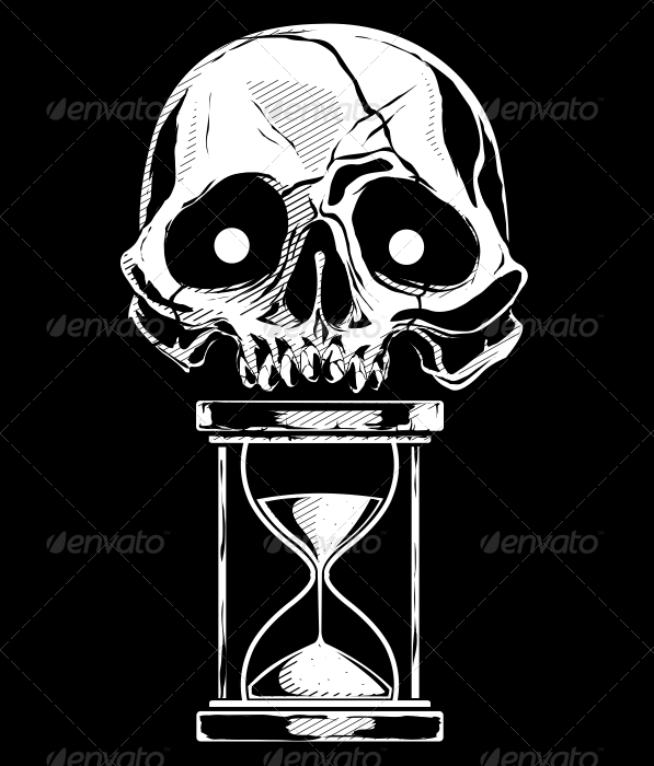 Skull with Sandtime - Tattoos Vectors