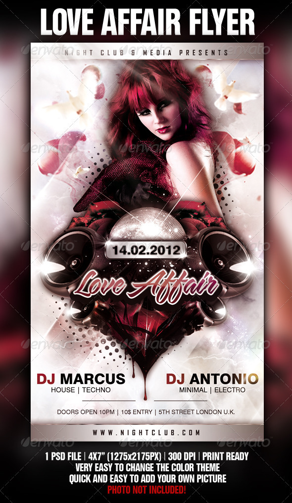 GraphicRiver Love Affair Flyer Template 1336594