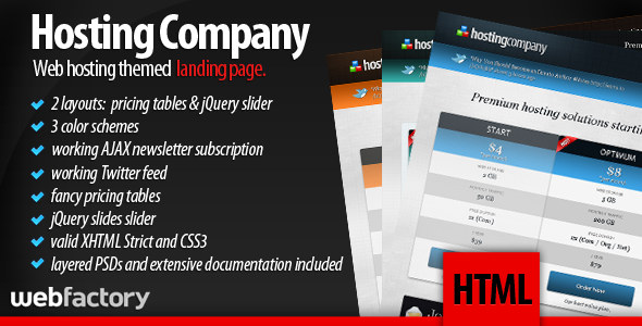 Hosting Company Landing Page - Landing page made specifically for Hosting Companies.