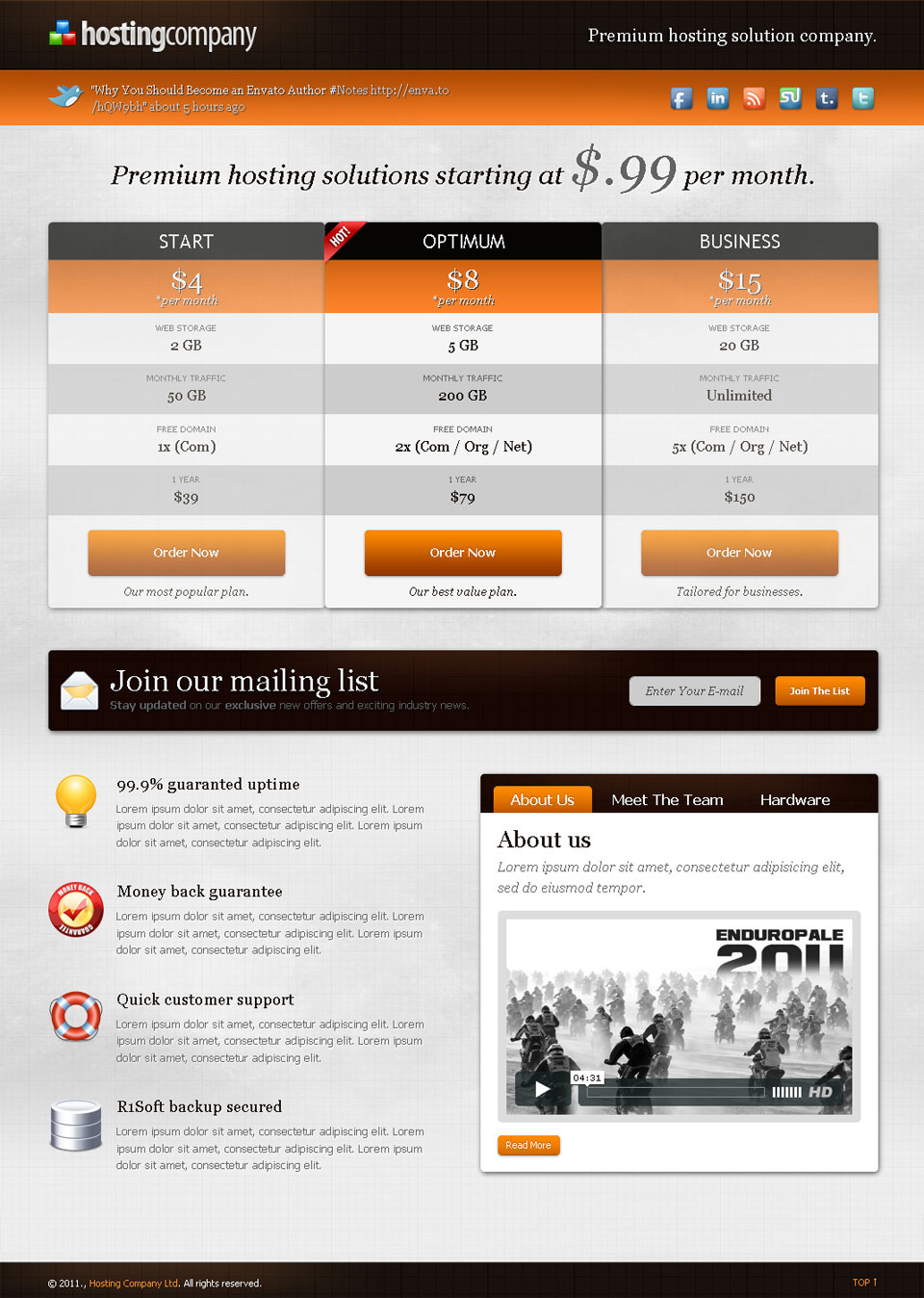 Hosting Company Landing Page - Orange - Pricing tables