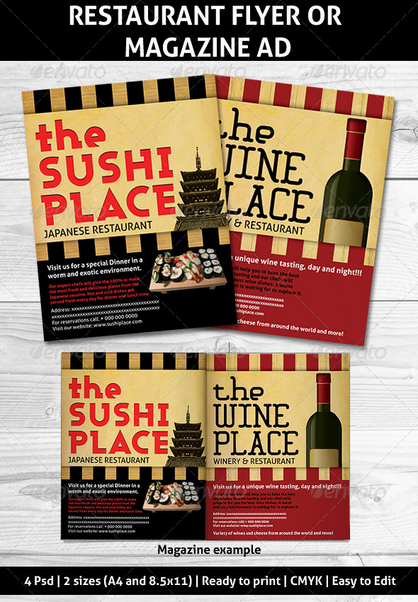 Restaurant Magazine Ads or flyer - Restaurant Flyers
