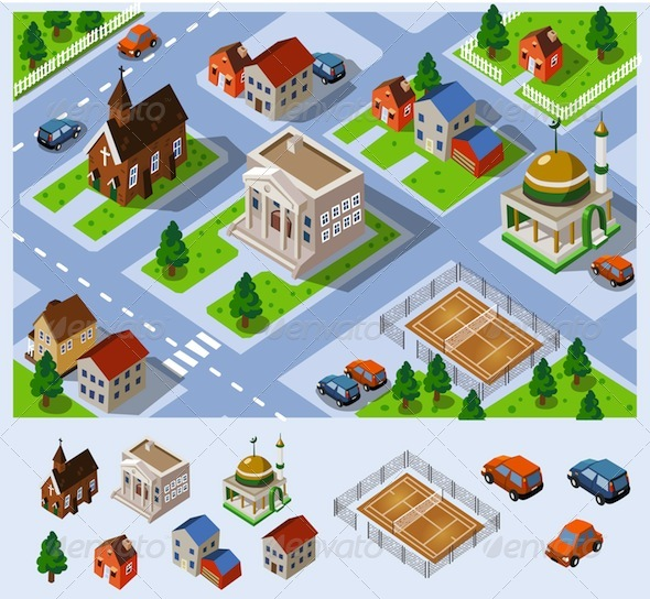 Map of city hall set of detailed isometric vector for Design your own commercial building