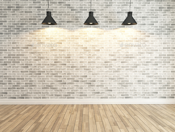 White Brick Wall Lights : white brick wall with light rendering background Stock Photo by sedatseven