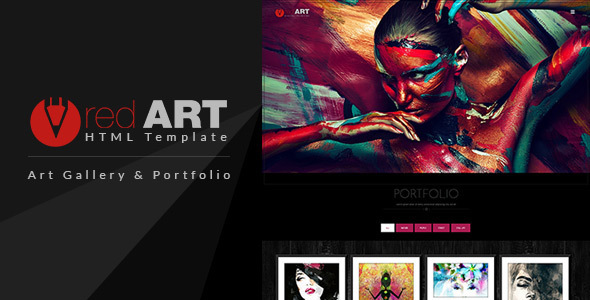 Red art html portfolio art gallery website template by for Best art websites for artists