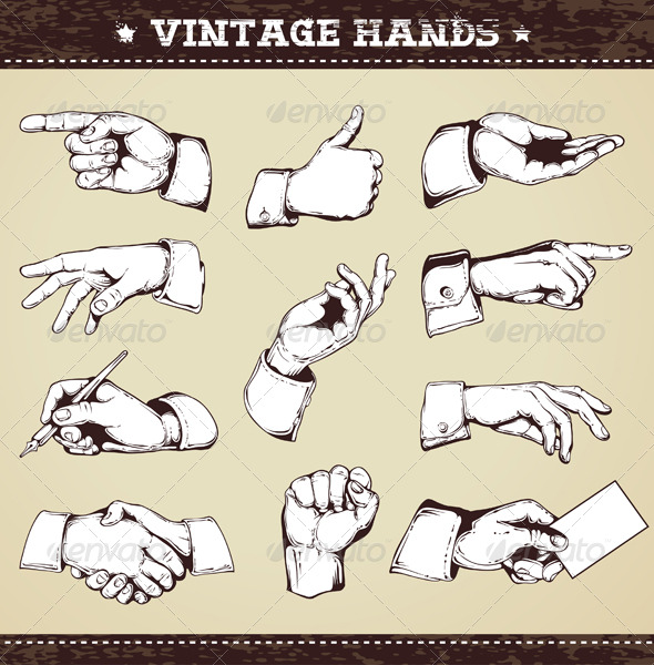 GraphicRiver Set of vintage hands 161029