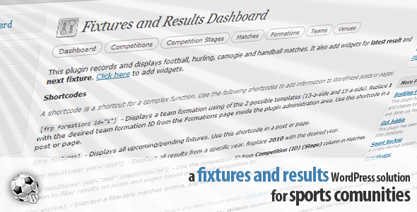 Fixtures and Results Plugin - CodeCanyon Item for Sale