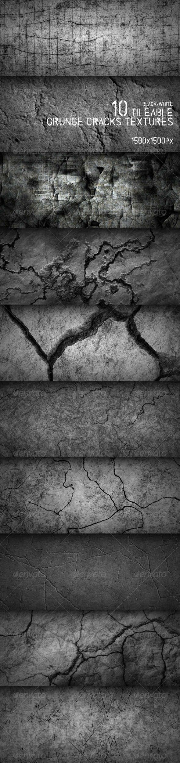 GraphicRiver 10 Tileable Grunge Cracks Textures 161557