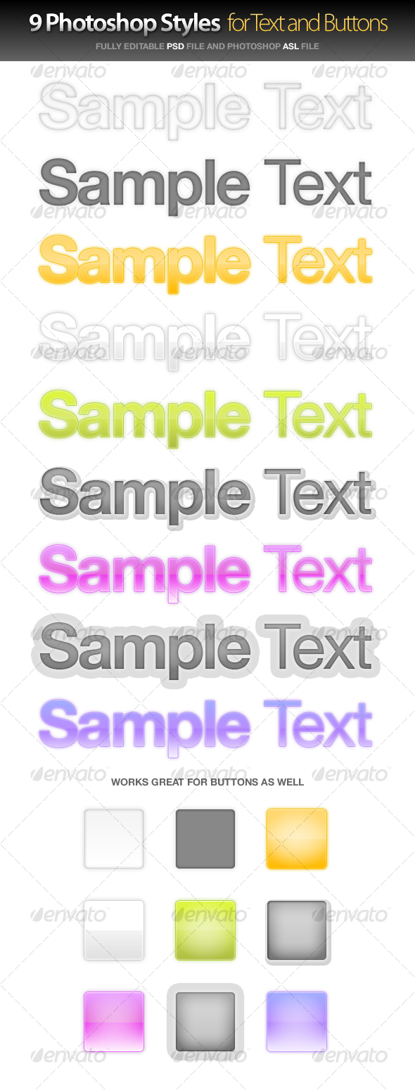 9 Styles for Text and Buttons - Text Effects Styles