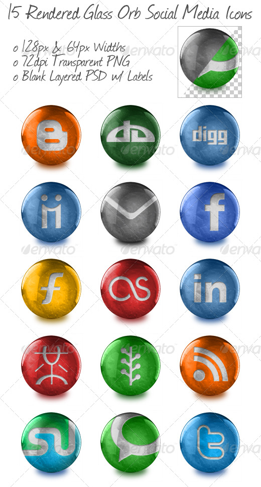 GraphicRiver 15 Rendered Glass Orb Social Media Icons 161929