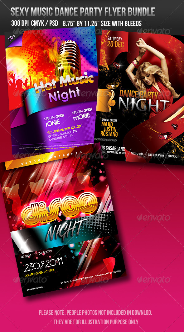 Sexy Music Dance Party Flyer Bundle - Clubs & Parties Events