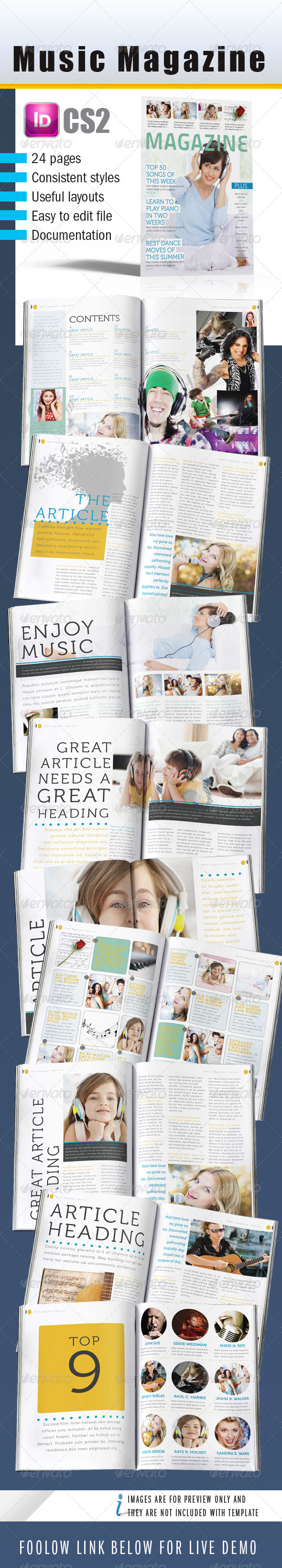 Music InDesign Magazine 24 pages