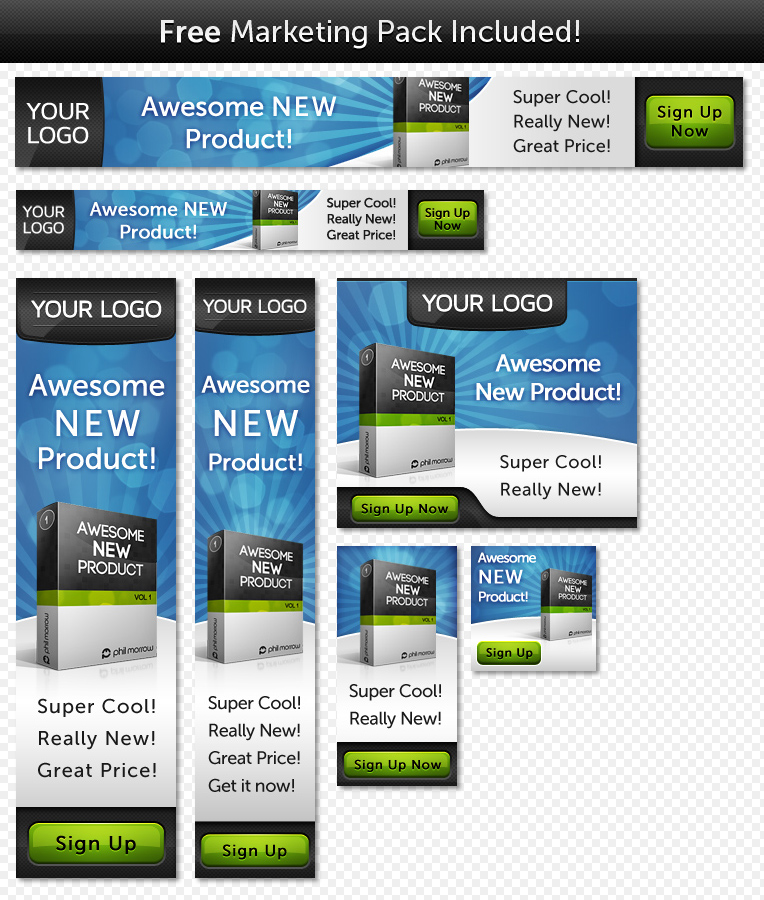 Unveiled - Ultimate Product Focused Landing Page - 7 Bonus banners for the Blue Sky Theme