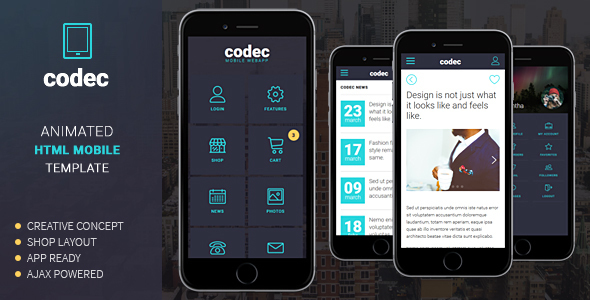 Codec mobile html template by sindevo themeforest for Mobile site template free download