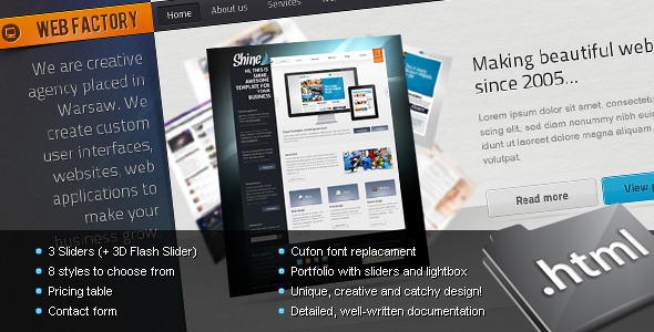 ThemeForest Web factory Modern & Unique HTML Template 162643