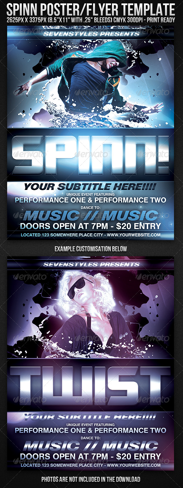 Spinn Poster/Flyer Template - Clubs & Parties Events