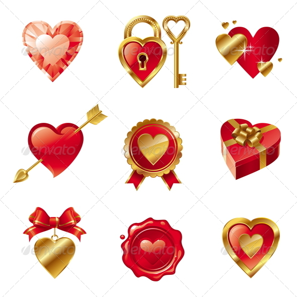 GraphicRiver Vector Set With Valentines Signs And Symbols 1361192