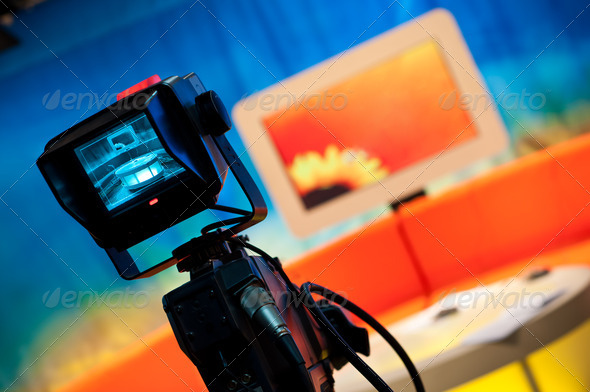 TV studio - Video camera viewfinder - Stock Photo - Images