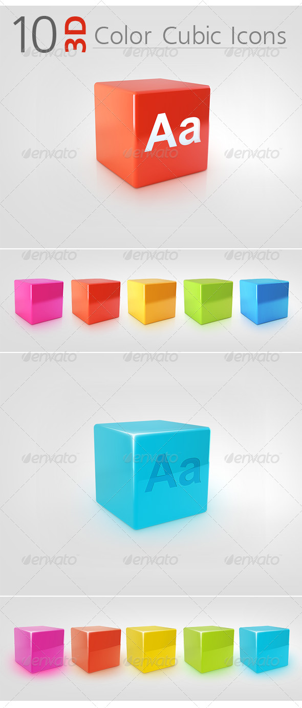 10 3D Color Cubic Icons - Miscellaneous Icons