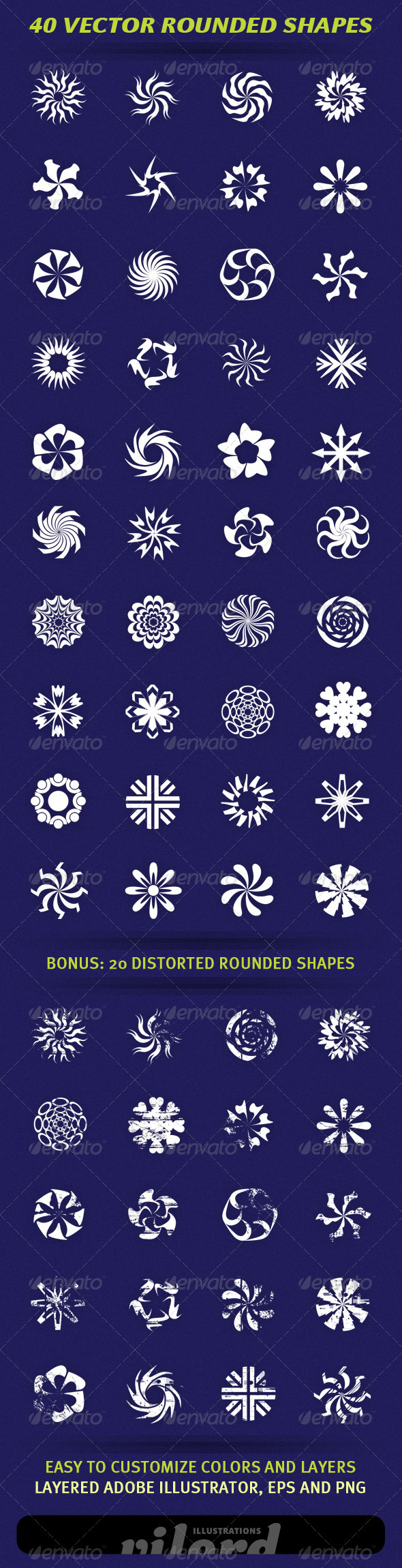 40 Vector Rounded Shapes - Decorative Symbols Decorative