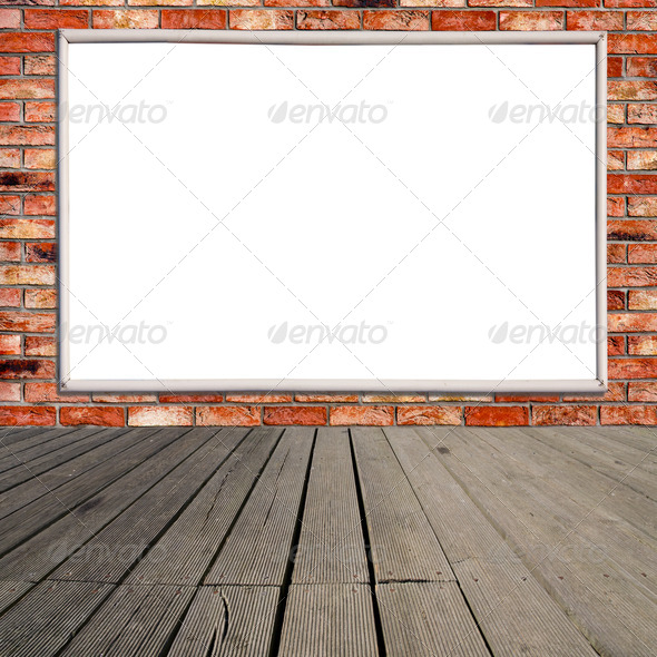 Blank billboard on brick wall - Stock Photo - Images