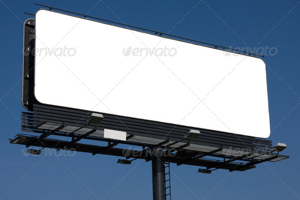 Blank billboard on blue sky for your advertisement - Stock Photo - Images