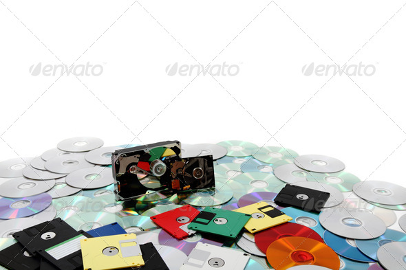 hard drive, floppy disc, and cd-rom - Stock Photo - Images