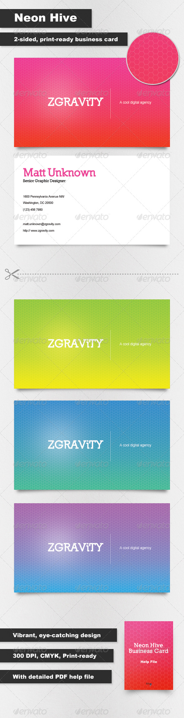 GraphicRiver Neon Hive Business Cards 162778