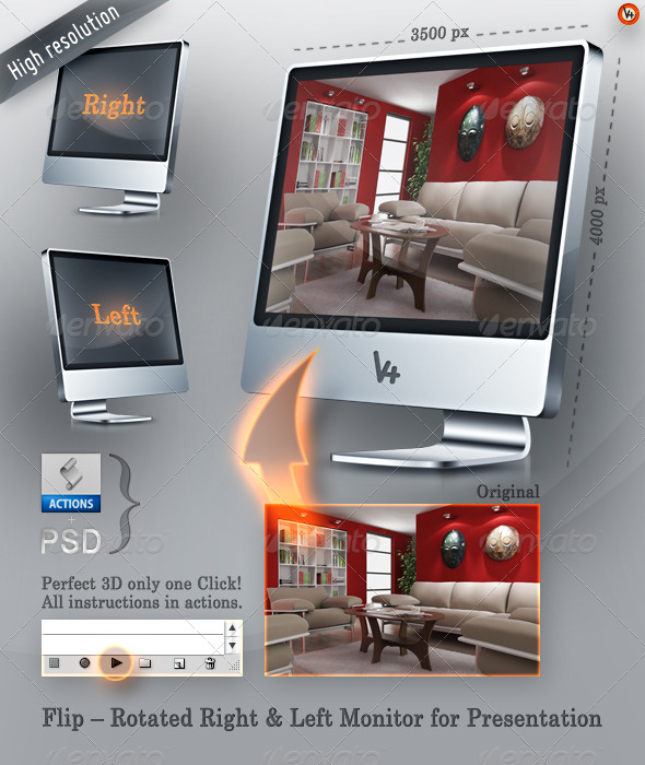 GraphicRiver Flip Rotated Right & Left Monitor Presentation 163560