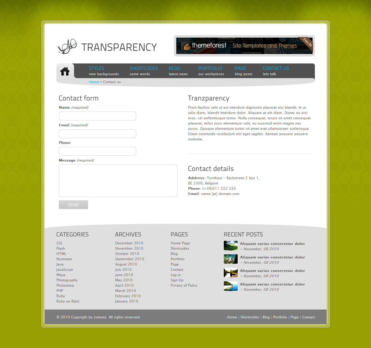 Tranzparency - Wordpress - Contact us
