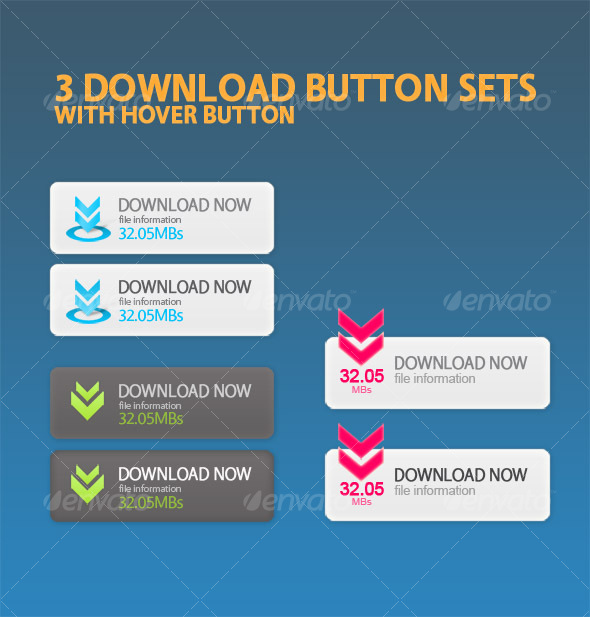 GraphicRiver Download Now button sets with hover buttons 54454