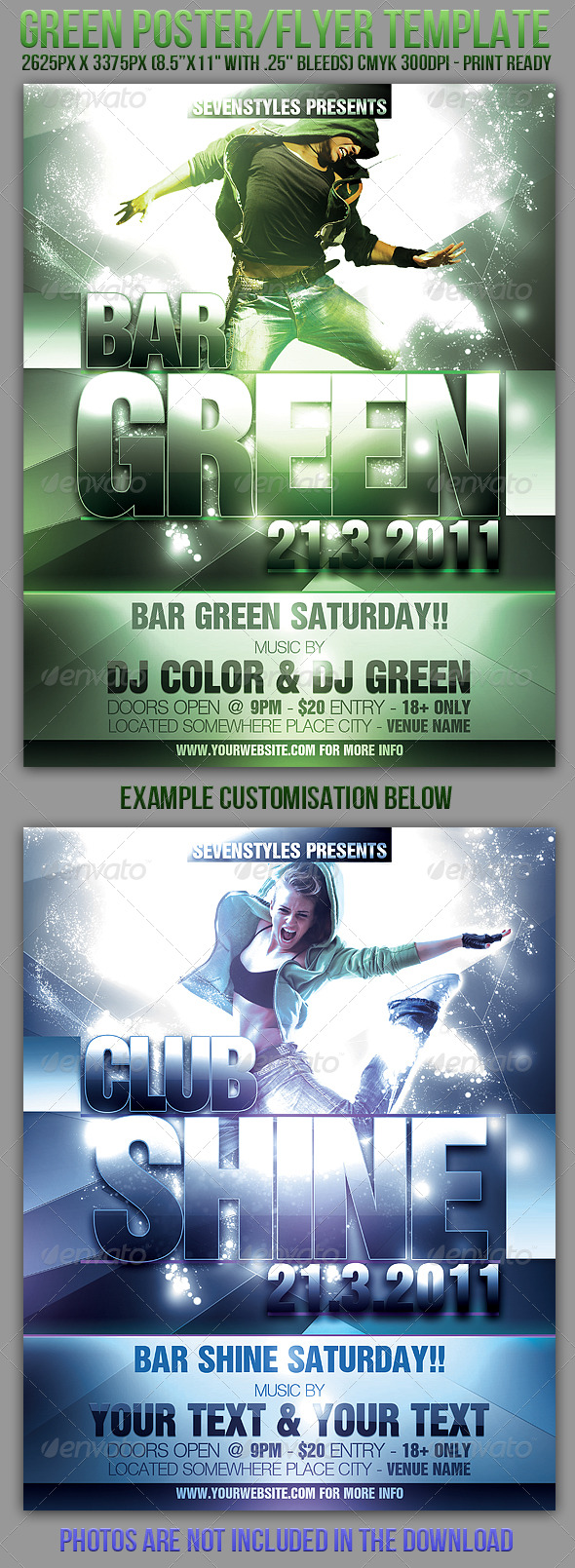 Green Poster/ Flyer Template - Clubs & Parties Events