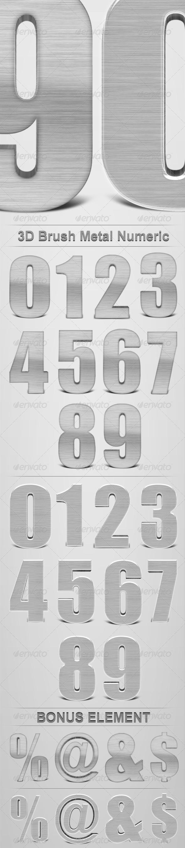 GraphicRiver 3D Brush Metal Numeric 164162