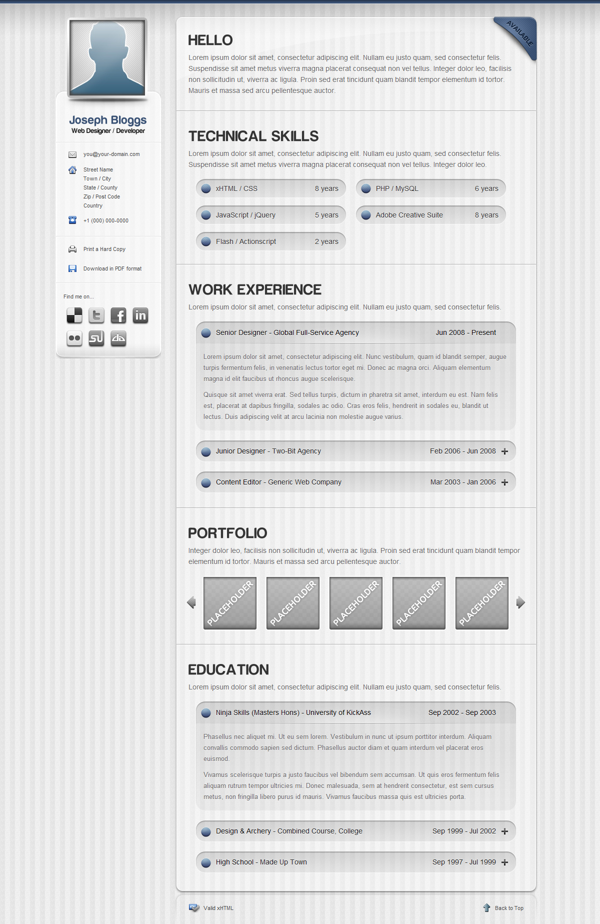 Pinstripe - Premium Resume / CV Template - Screenshot of the Light Theme of this CV template - a professional pinstripe style with slick jQuery effects