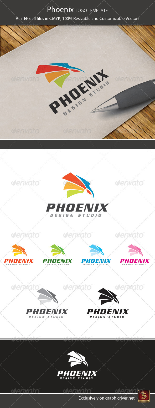 Phoenix Design Logo Template - Vector Abstract
