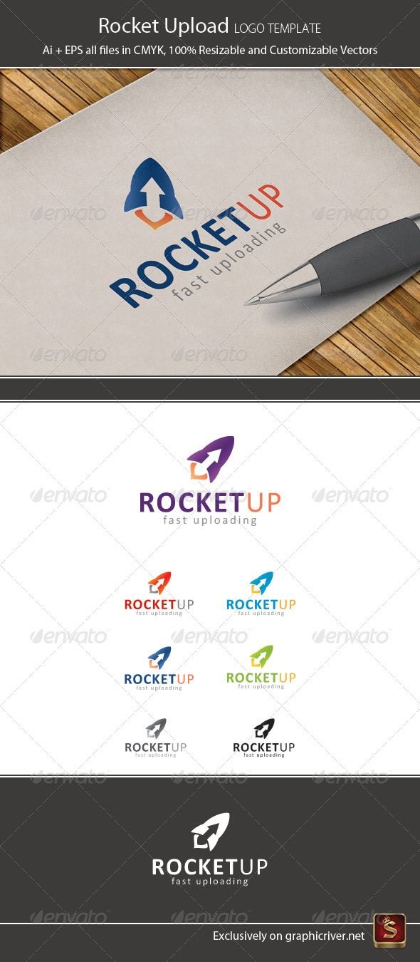 Rocket Upload Logo Template - Vector Abstract