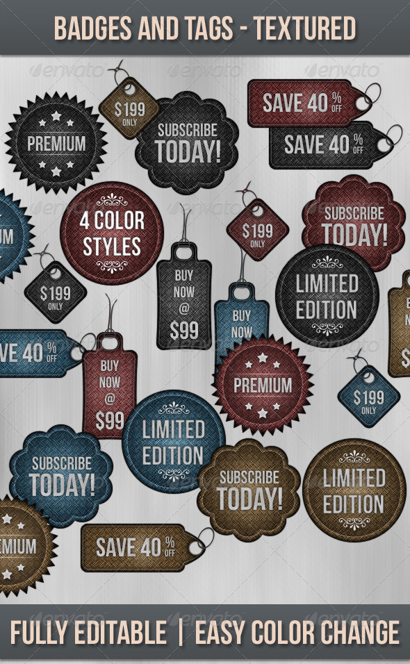 GraphicRiver Badges and Tags Textured 164793