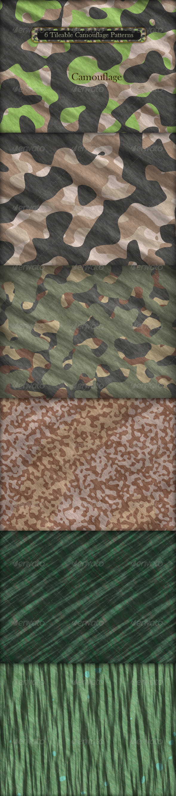 GraphicRiver 6 Tileable Camouflage Patterns 164860