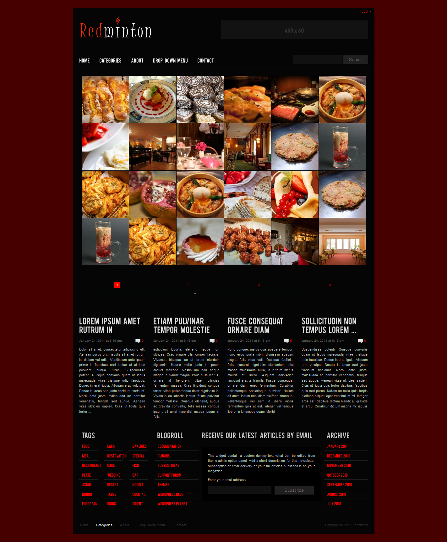 Redminton - Restaurant WordPress Theme - Redminton Layout