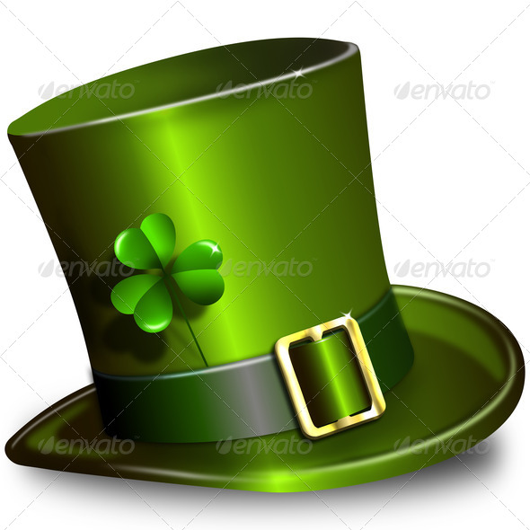 St. Patrick&#x27;s Day hat with clover - Stock Photo - Images