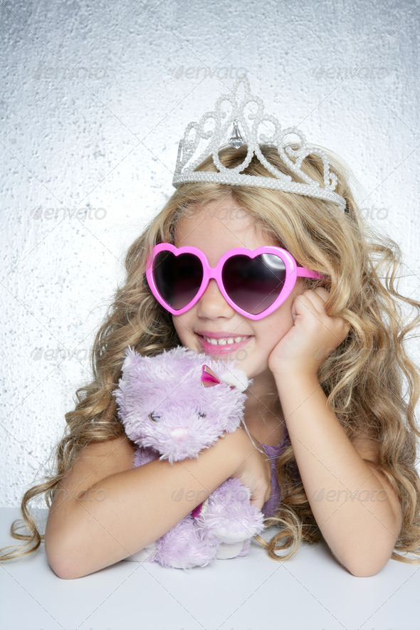fashion little princess girl pink teddy bear - Stock Photo - Images