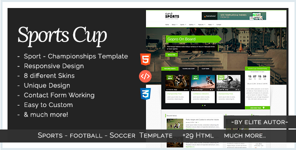 Sports Cup - Bootstrap 3 Sporting HTML Template by iwthemes ...