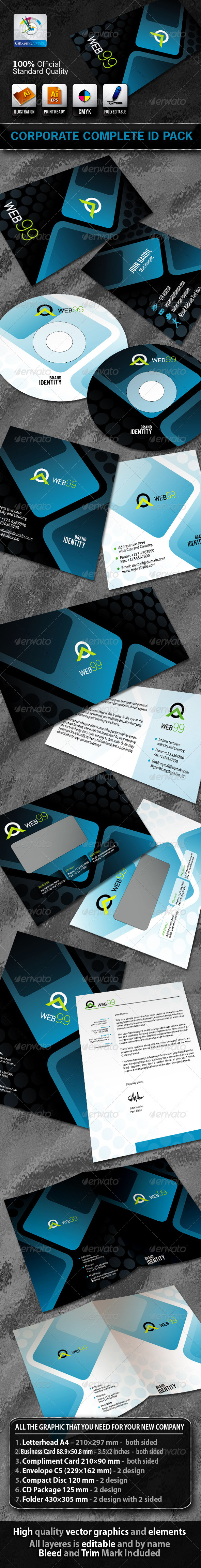 Web99 Business Corporate ID Pack + Logo  - Stationery Print Templates