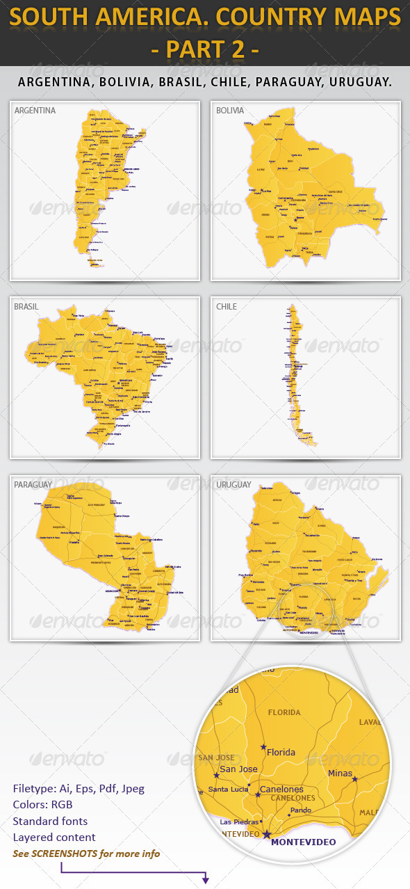 South America. Country maps - part 2 - Miscellaneous Vectors
