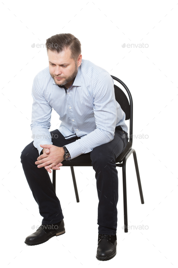 man sitting on chair. Isolated white background. Body ...