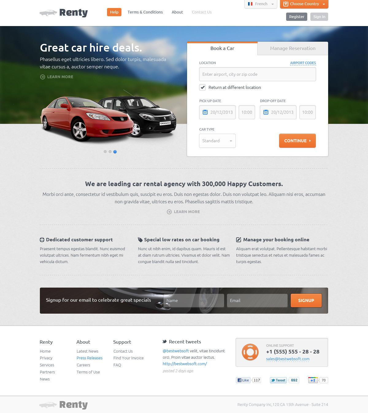 Renty car rental booking html5 template by bestwebholding themeforest