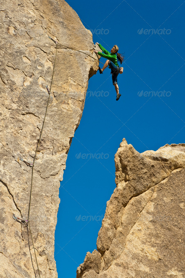 Female rock climber. - Stock Photo - Images