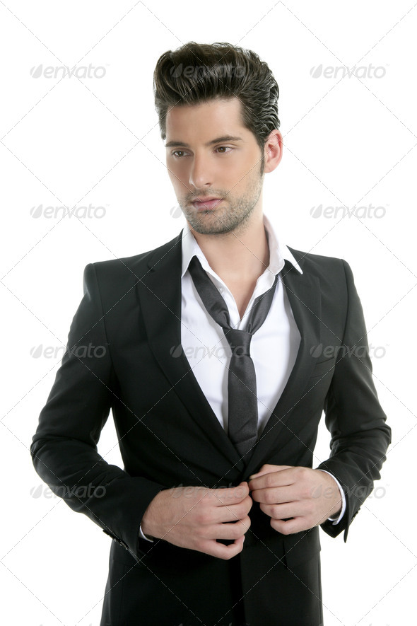 Handsome young man suit casual tie suit - Stock Photo - Images