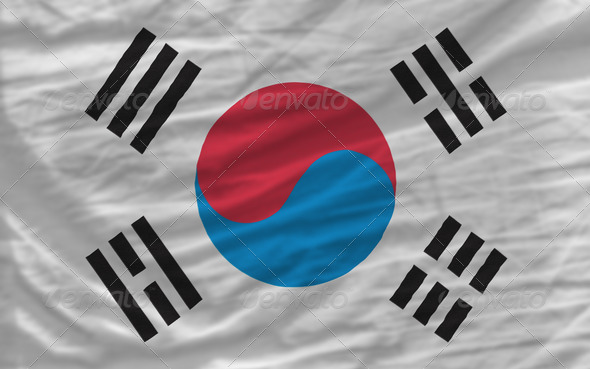 complete waved national flag of south korea for background - Stock Photo - Images