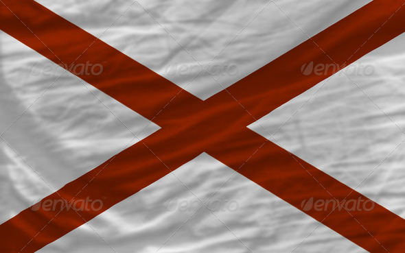 complete waved flag of american state of alabama for background - Stock Photo - Images